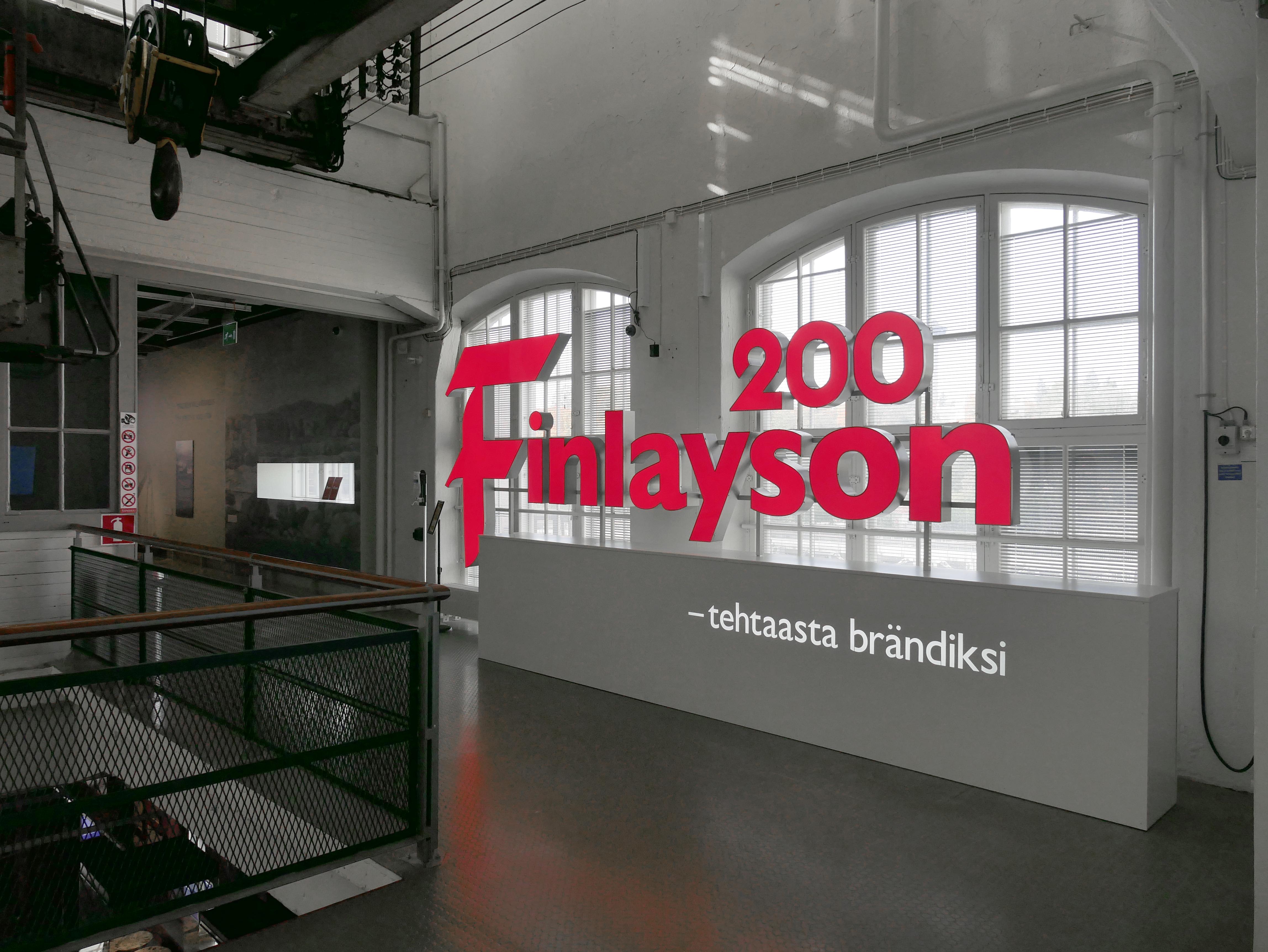 Finlayson 200 - tehtaasta brandiksi -nayttely, valomainos