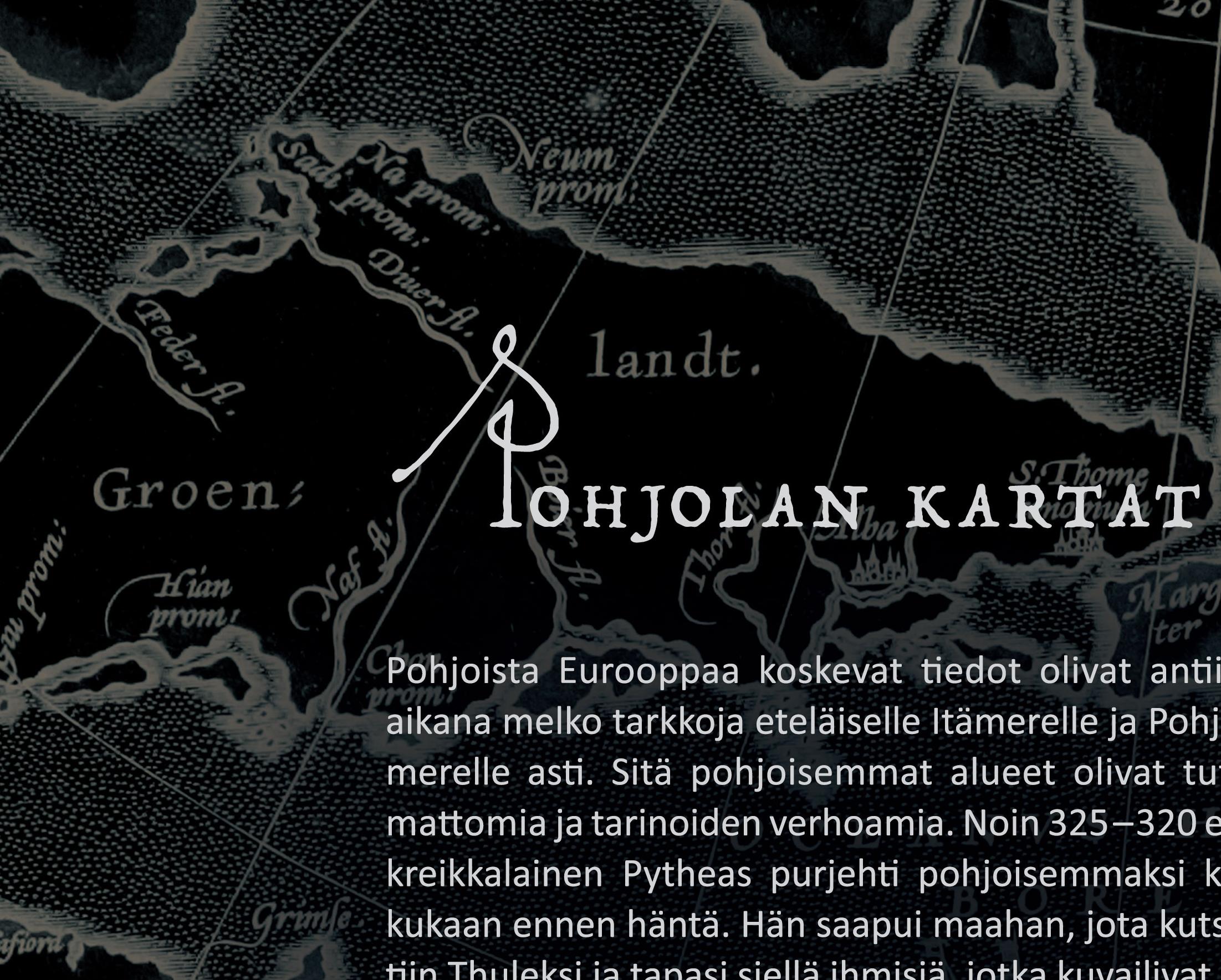 Detalji planssista Pohjolan kartat, Kartalla ollaan -näyttely Satakunnan museo